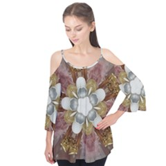 Elegant Antique Pink Kaleidoscope Flower Gold Chic Stylish Classic Design Flutter Tees by yoursparklingshop