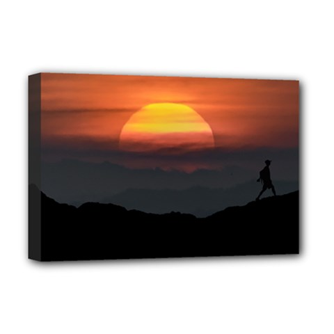 Man Walking At Mountains Landscape Illustration Deluxe Canvas 18  X 12   by dflcprints