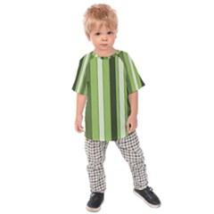 Greenery Stripes Pattern 8000 Vertical Stripe Shades Of Spring Green Color Kids  Raglan Tee