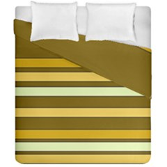 Elegant Shades Of Primrose Yellow Brown Orange Stripes Pattern Duvet Cover Double Side (california King Size) by yoursparklingshop