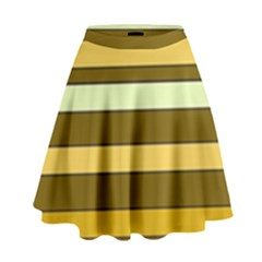 Elegant Shades of Primrose Yellow Brown Orange Stripes Pattern High Waist Skirt by yoursparklingshop