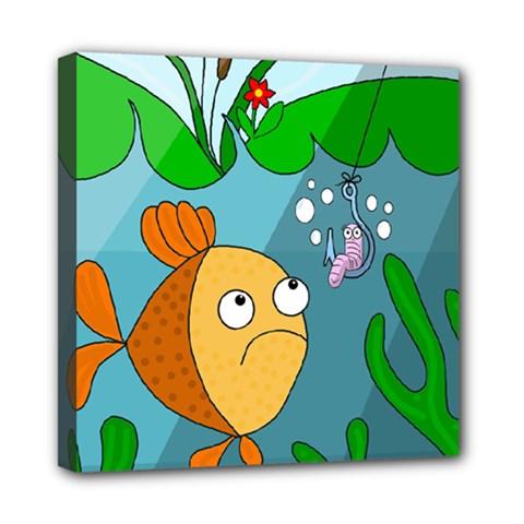Fish And Worm Mini Canvas 8  X 8
