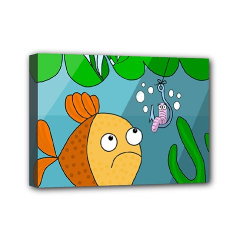 Fish And Worm Mini Canvas 7  X 5  by Valentinaart