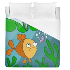Fish And Worm Duvet Cover (queen Size) by Valentinaart