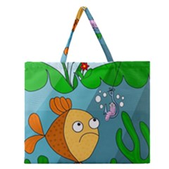 Fish And Worm Zipper Large Tote Bag by Valentinaart
