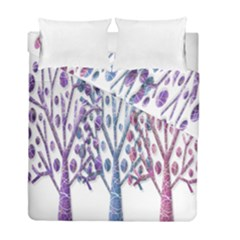 Magical Pastel Trees Duvet Cover Double Side (full/ Double Size) by Valentinaart
