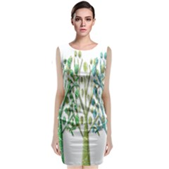 Magical Green Trees Sleeveless Velvet Midi Dress
