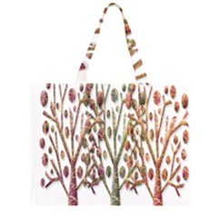 Magical Autumn Trees Zipper Large Tote Bag by Valentinaart