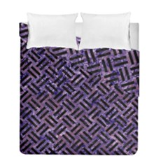Woven2 Black Marble & Purple Marble (r) Duvet Cover Double Side (full/ Double Size) by trendistuff