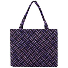 Woven2 Black Marble & Purple Marble Mini Tote Bag by trendistuff