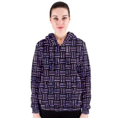 Woven1 Black Marble & Purple Marble Women s Zipper Hoodie by trendistuff