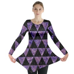 Triangle3 Black Marble & Purple Marble Long Sleeve Tunic  by trendistuff