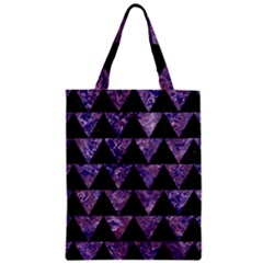 Triangle2 Black Marble & Purple Marble Zipper Classic Tote Bag by trendistuff