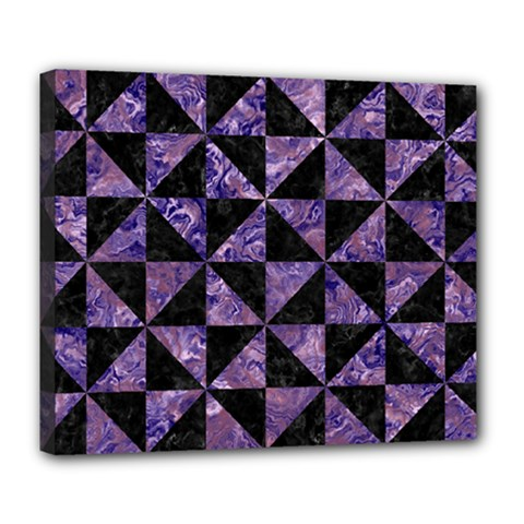 Triangle1 Black Marble & Purple Marble Deluxe Canvas 24  X 20  (stretched) by trendistuff