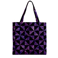 Triangle1 Black Marble & Purple Marble Zipper Grocery Tote Bag by trendistuff