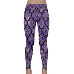 Tile1 Black Marble & Purple Marble (r) Classic Yoga Leggings by trendistuff