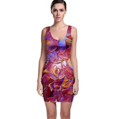 Floral Artstudio 1216 Plastic Flowers Sleeveless Bodycon Dress