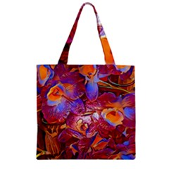 Floral Artstudio 1216 Plastic Flowers Zipper Grocery Tote Bag