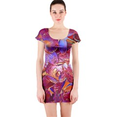 Floral Artstudio 1216 Plastic Flowers Short Sleeve Bodycon Dress