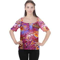 Floral Artstudio 1216 Plastic Flowers Women s Cutout Shoulder Tee