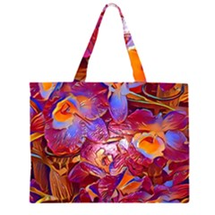 Floral Artstudio 1216 Plastic Flowers Zipper Large Tote Bag
