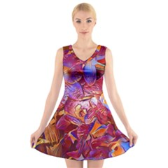 Floral Artstudio 1216 Plastic Flowers V Neck Sleeveless Skater Dress