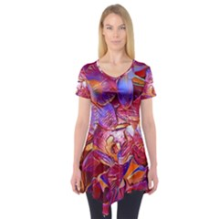 Floral Artstudio 1216 Plastic Flowers Short Sleeve Tunic