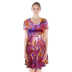 Floral Artstudio 1216 Plastic Flowers Short Sleeve V Neck Flare Dress