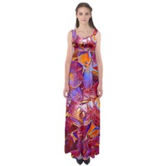 Floral Artstudio 1216 Plastic Flowers Empire Waist Maxi Dress