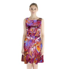 Floral Artstudio 1216 Plastic Flowers Sleeveless Chiffon Waist Tie Dress