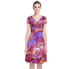 Floral Artstudio 1216 Plastic Flowers Short Sleeve Front Wrap Dress