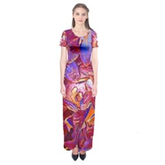 Floral Artstudio 1216 Plastic Flowers Short Sleeve Maxi Dress