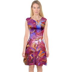 Floral Artstudio 1216 Plastic Flowers Capsleeve Midi Dress