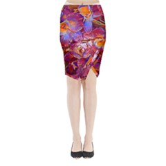 Floral Artstudio 1216 Plastic Flowers Midi Wrap Pencil Skirt