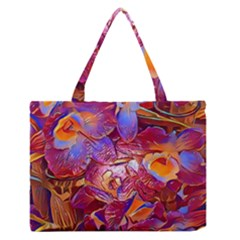 Floral Artstudio 1216 Plastic Flowers Medium Zipper Tote Bag