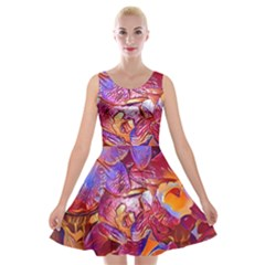 Floral Artstudio 1216 Plastic Flowers Velvet Skater Dress