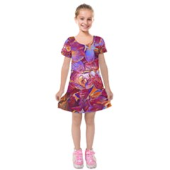 Floral Artstudio 1216 Plastic Flowers Kids  Short Sleeve Velvet Dress