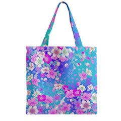 Colorful Pastel Flowers  Grocery Tote Bag by Brittlevirginclothing