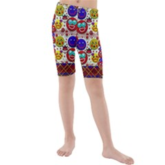 Smile And The Whole World Smiles  On Kids  Mid Length Swim Shorts by pepitasart