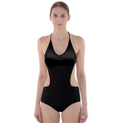 Simple Black Cut Out One Piece Swimsuit