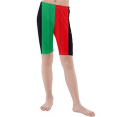 Kwanzaa Colors African American Red Black Green  Kids  Mid Length Swim Shorts by yoursparklingshop