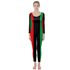 Kwanzaa Colors African American Red Black Green  Long Sleeve Catsuit by yoursparklingshop