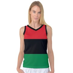 Pan African Unia Flag Colors Red Black Green Horizontal Stripes Women s Basketball Tank Top by yoursparklingshop