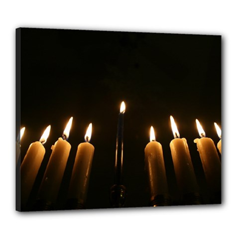 Hanukkah Chanukah Menorah Candles Candlelight Jewish Festival Of Lights Canvas 24  X 20  by yoursparklingshop