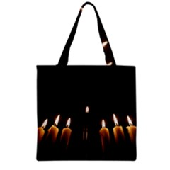 Hanukkah Chanukah Menorah Candles Candlelight Jewish Festival Of Lights Grocery Tote Bag by yoursparklingshop
