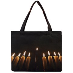 Hanukkah Chanukah Menorah Candles Candlelight Jewish Festival Of Lights Mini Tote Bag by yoursparklingshop
