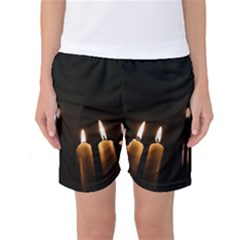 Hanukkah Chanukah Menorah Candles Candlelight Jewish Festival Of Lights Women s Basketball Shorts by yoursparklingshop