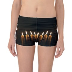Hanukkah Chanukah Menorah Candles Candlelight Jewish Festival Of Lights Boyleg Bikini Bottoms by yoursparklingshop