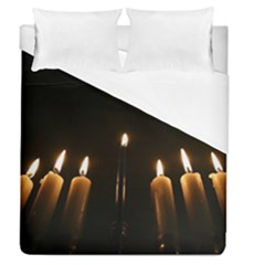 Hanukkah Chanukah Menorah Candles Candlelight Jewish Festival Of Lights Duvet Cover (Queen Size) by yoursparklingshop