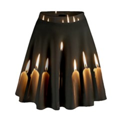 Hanukkah Chanukah Menorah Candles Candlelight Jewish Festival Of Lights High Waist Skirt by yoursparklingshop